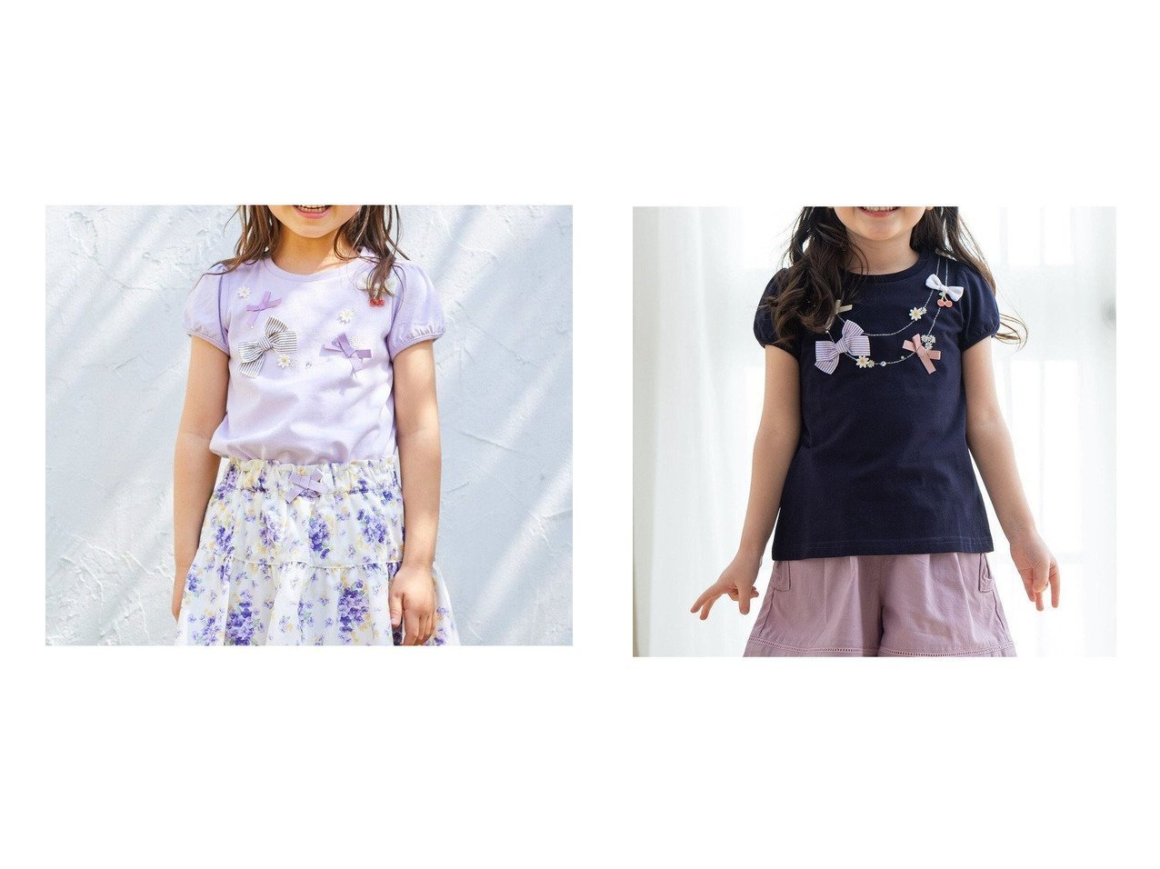 【anyFAM / KIDS/エニファム】のネックレス風モチーフTシャツ&ネックレス風モチーフTシャツ 【KIDS】子供服のおすすめ!人気トレンド・キッズファッションの通販  おすすめで人気の流行・トレンド、ファッションの通販商品 メンズファッション・キッズファッション・インテリア・家具・レディースファッション・服の通販 founy(ファニー) https://founy.com/ ファッション Fashion キッズファッション KIDS トップス・カットソー Tops/Tees/Kids カットソー ガーリー ネックレス 人気 半袖 モチーフ リボン 再入荷 Restock/Back in Stock/Re Arrival 送料無料 Free Shipping |ID:crp329100000034837