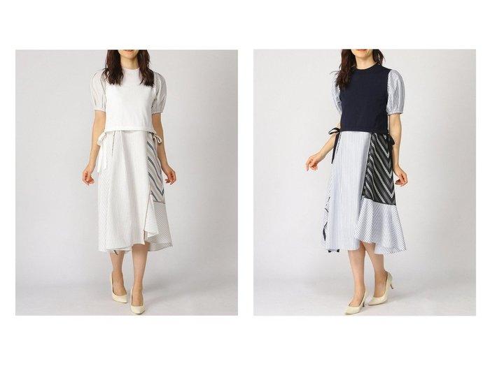 【LANVIN en Bleu/ランバン オン ブルー】のストライプMIXドッキングワンピース 【ワンピース・ドレス】おすすめ!人気、トレンド・レディースファッションの通販 おすすめファッション通販アイテム インテリア・キッズ・メンズ・レディースファッション・服の通販 founy(ファニー) https://founy.com/ ファッション Fashion レディースファッション WOMEN ワンピース Dress イレギュラーヘム ウォッシャブル キャミソール コンビ ストライプ ストレッチ ドッキング バランス フェミニン |ID:crp329100000035020