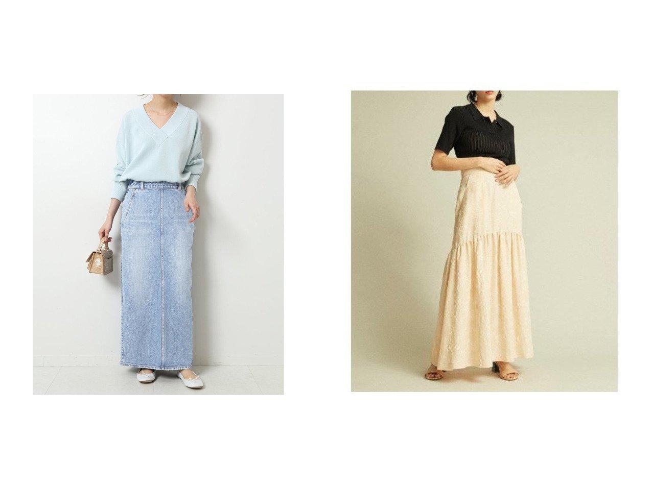 【Lily Brown/リリーブラウン】のフラワージャガードスカート&【Spick & Span/スピック&スパン】の【RED CARD】別注マキシスカート 【スカート】おすすめ!人気、トレンド・レディースファッションの通販 おすすめで人気の流行・トレンド、ファッションの通販商品 メンズファッション・キッズファッション・インテリア・家具・レディースファッション・服の通販 founy(ファニー) https://founy.com/ ファッション Fashion レディースファッション WOMEN スカート Skirt ギャザー ジャカード バランス フラワー フレア ポケット ロング スリット デニム フラット 別注 マキシ ミックス 2021年 2021 再入荷 Restock/Back in Stock/Re Arrival S/S・春夏 SS・Spring/Summer 2021春夏・S/S SS/Spring/Summer/2021 日本製 Made in Japan |ID:crp329100000035435