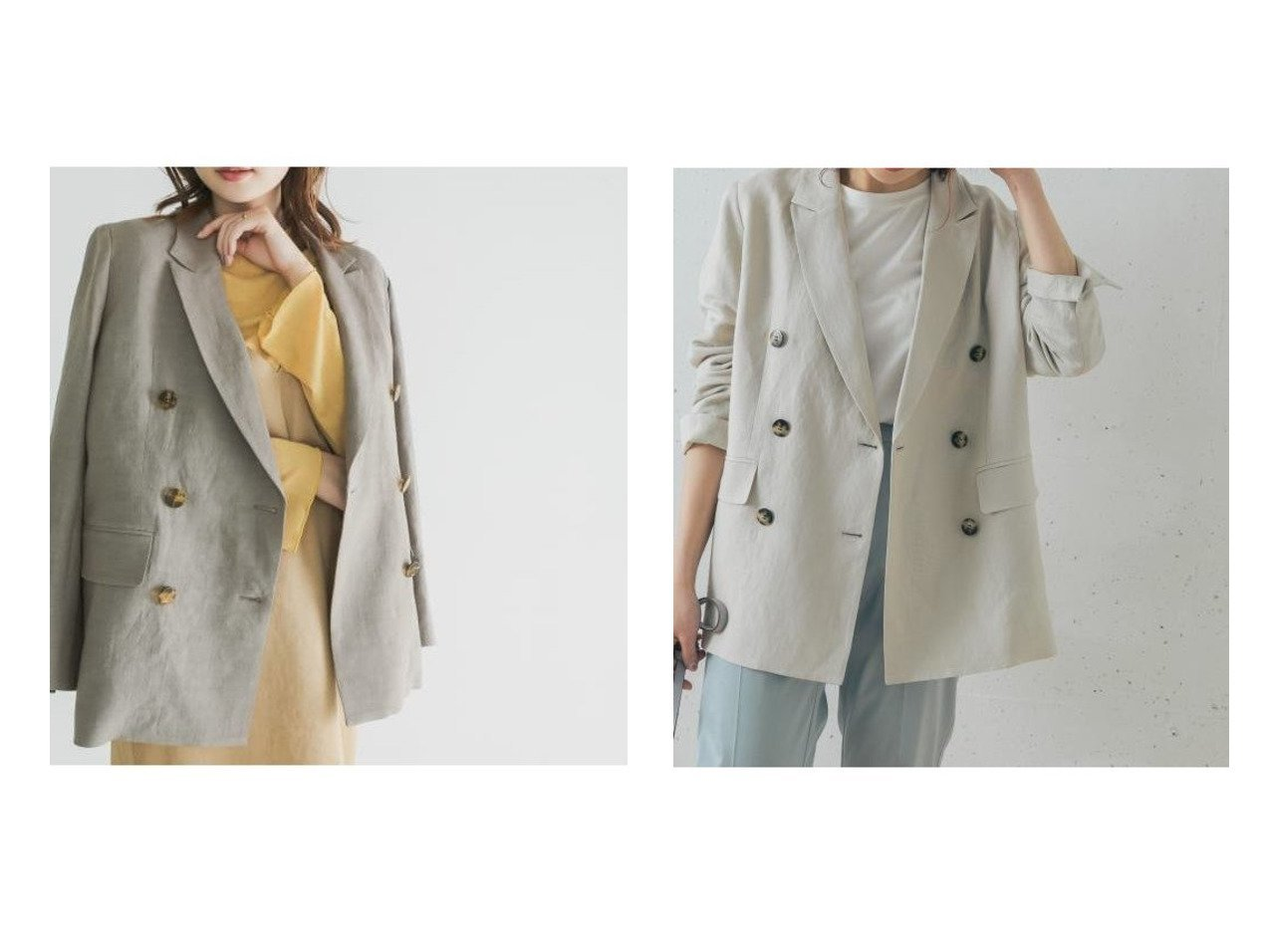 【URBAN RESEARCH ROSSO/アーバンリサーチ ロッソ】のピークドラペルダブルジャケット 【アウター】おすすめ!人気、トレンド・レディースファッションの通販 おすすめで人気の流行・トレンド、ファッションの通販商品 メンズファッション・キッズファッション・インテリア・家具・レディースファッション・服の通販 founy(ファニー) https://founy.com/ ファッション Fashion レディースファッション WOMEN アウター Coat Outerwear ジャケット Jackets テーラードジャケット Tailored Jackets キャミワンピース ジャケット ダブル パターン ポケット ミックス リネン おすすめ Recommend  ID:crp329100000035526