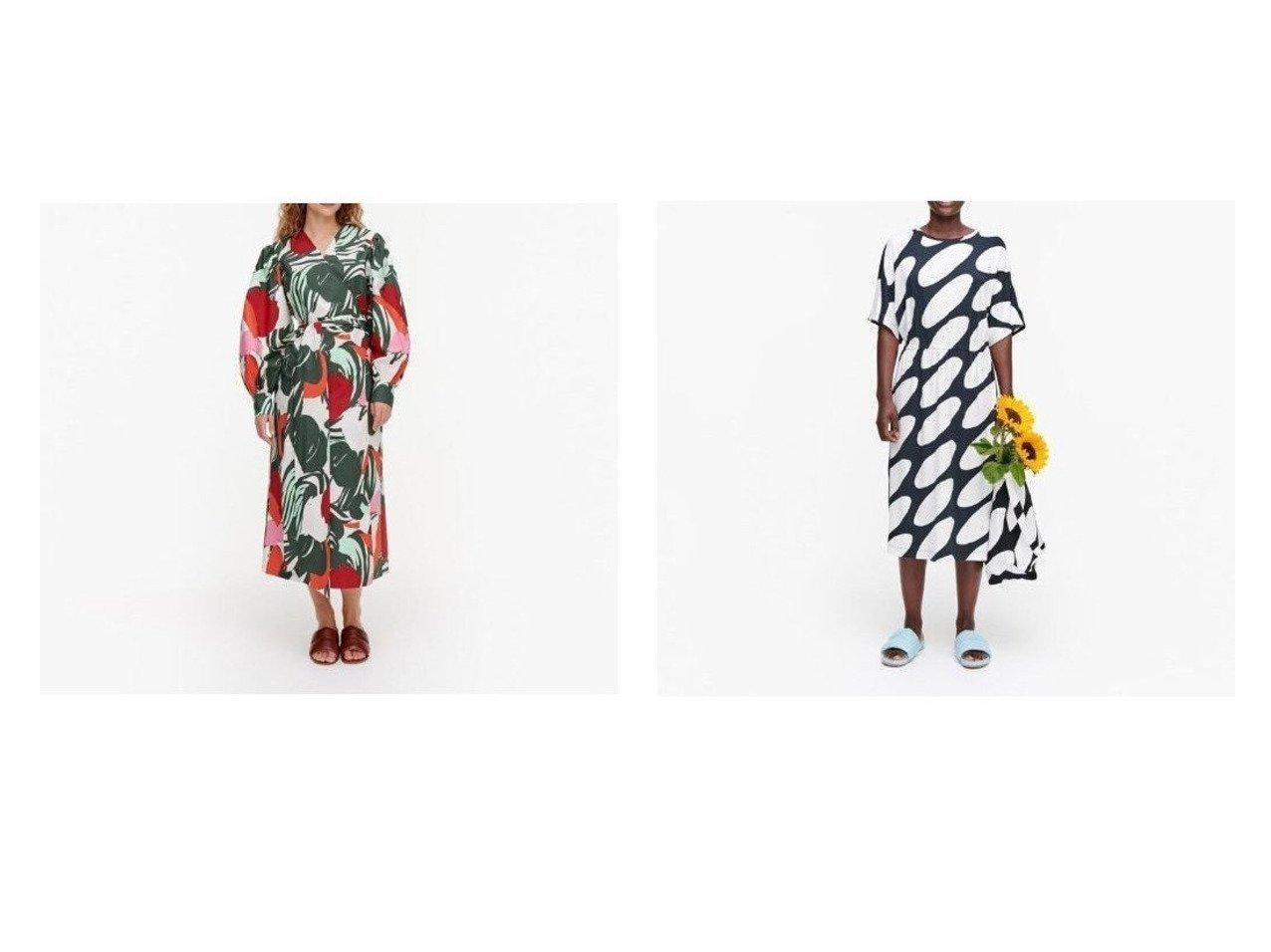 【marimekko/マリメッコ】のAalloilla Iso Mehu ワンピース&Raikas Linssi ワンピース おすすめ!人気、トレンド・レディースファッションの通販 おすすめで人気の流行・トレンド、ファッションの通販商品 メンズファッション・キッズファッション・インテリア・家具・レディースファッション・服の通販 founy(ファニー) https://founy.com/ ファッション Fashion レディースファッション WOMEN ワンピース Dress コンビ スリーブ プリント モダン ギャザー ショルダー ポケット ラップ ワイド |ID:crp329100000035902
