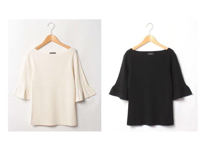 【theory/セオリー】のニット COMPACT CREPE RUFFLE SLV 【トップス・カットソー】おすすめ!人気、トレンド・レディースファッションの通販 おすすめファッション通販アイテム レディースファッション・服の通販 founy(ファニー) ファッション Fashion レディースファッション WOMEN トップス・カットソー Tops/Tshirt ニット Knit Tops おすすめ Recommend シンプル セーター ファブリック フィット フリル |ID:crp329100000036376