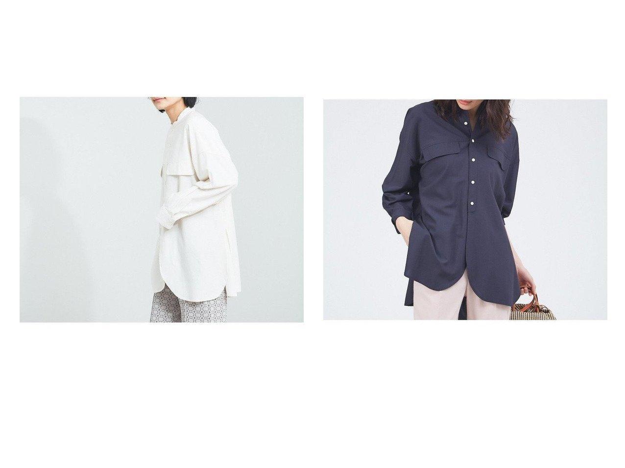 【qualite/カリテ】の【WEB・一部店舗限定】バンドカラーシャツ おすすめ!人気、トレンド・レディースファッションの通販  おすすめで人気の流行・トレンド、ファッションの通販商品 メンズファッション・キッズファッション・インテリア・家具・レディースファッション・服の通販 founy(ファニー) https://founy.com/ ファッション Fashion レディースファッション WOMEN トップス・カットソー Tops/Tshirt シャツ/ブラウス Shirts/Blouses おすすめ Recommend カッティング スリット トレンド フラップ フレア ポケット ラウンド リラックス 春 Spring 長袖 |ID:crp329100000036453