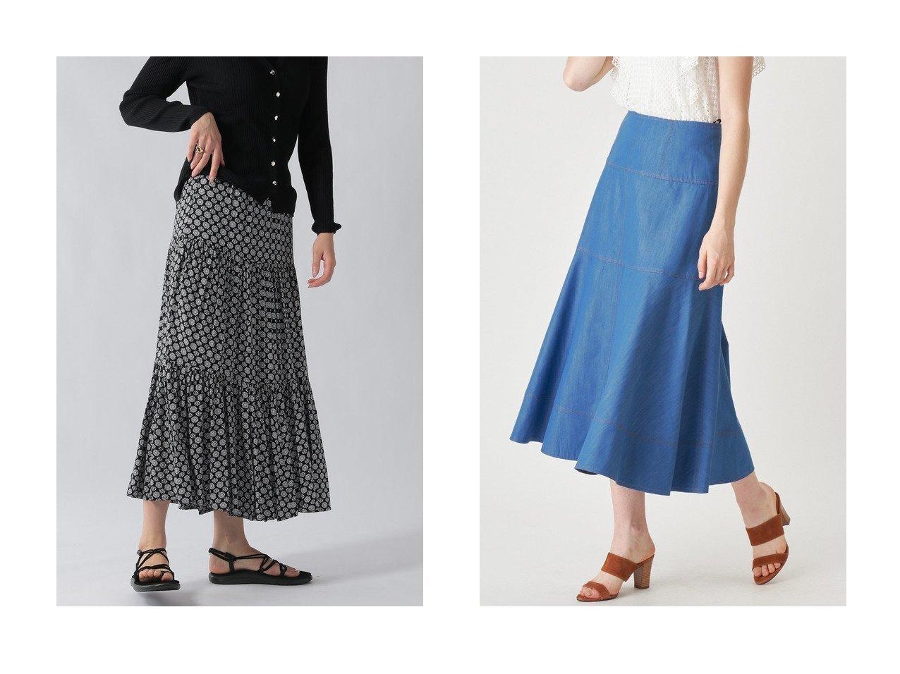 【ANAYI/アナイ】のデニムチョウロング スカート&【Ezick/エジック】の刺繍ティアードスカート 【スカート】おすすめ!人気、トレンド・レディースファッションの通販 おすすめで人気の流行・トレンド、ファッションの通販商品 メンズファッション・キッズファッション・インテリア・家具・レディースファッション・服の通販 founy(ファニー) https://founy.com/ ファッション Fashion レディースファッション WOMEN スカート Skirt ロングスカート Long Skirt ティアードスカート Tiered Skirts シャンブレー デニム フレア ロング |ID:crp329100000036699