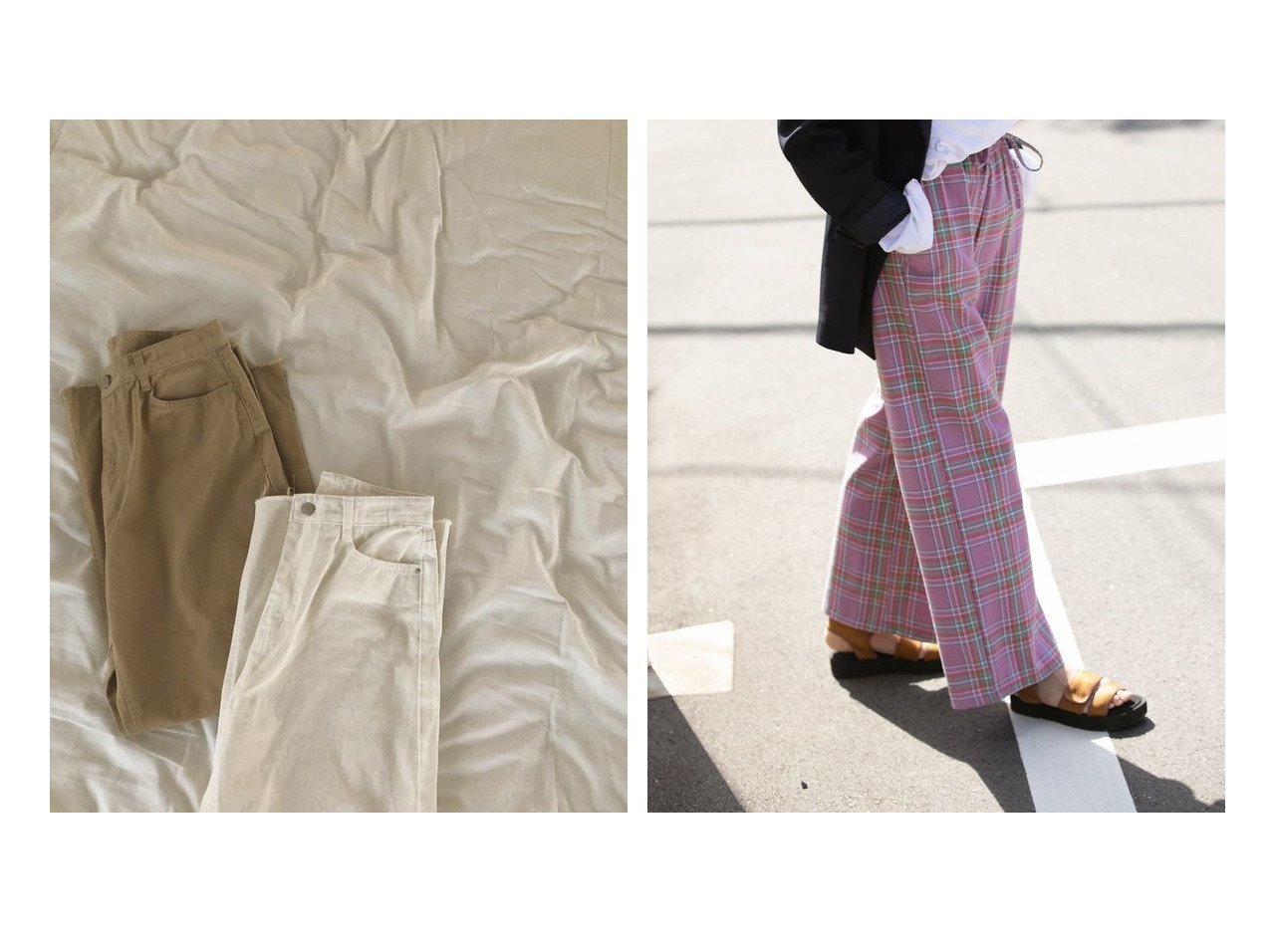 【marjour/マージュール】のリラックスチェックパンツ RELAX CHECK PANTS&カラーワイドデニム COLOR WIDE DENIM おすすめ!人気、トレンド・レディースファッションの通販 おすすめファッション通販アイテム インテリア・キッズ・メンズ・レディースファッション・服の通販 founy(ファニー)  ファッション Fashion レディースファッション WOMEN パンツ Pants おすすめ Recommend ストライプ デニム ボーダー ワイド シンプル スウェット ストレート チェック リラックス 春 Spring ホワイト系 White イエロー系 Yellow ブラック系 Black ベージュ系 Beige レッド系 Red |ID:crp329100000037034