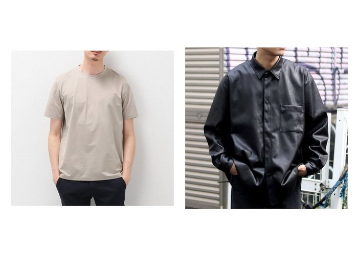 【EDIFICE / MEN/エディフィス】の【BEGIN掲載】SOLOTEX クルーネック Tシャツ&【JOINT WORKS / MEN/ジョイントワークス】の【MEN S NONNO掲載】SYNTHETIC LEATHER DADシャツ ファッション雑誌掲載 おすすめ!人気トレンド・男性、メンズファッションの通販 おすすめファッション通販アイテム レディースファッション・服の通販 founy(ファニー) ファッション Fashion メンズファッション MEN トップス・カットソー Tops/Tshirt/Men シャツ Shirts イタリア インナー カットソー ストレッチ 軽量 雑誌 |ID:crp329100000037219