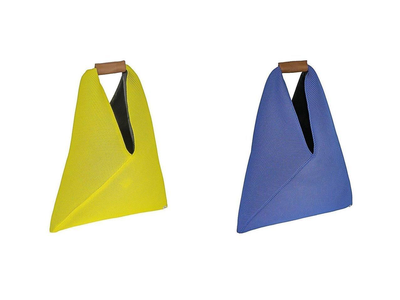 【MM6 Maison Margiela/エムエムシックス メゾンマルジェラ】のMM6(エムエム6) S54WD0043-PR992 ジャパニーズトート トライアングル メッシュ ミニトートバッグ 【バッグ・鞄】おすすめ!人気、トレンド・レディースファッションの通販   おすすめファッション通販アイテム インテリア・キッズ・メンズ・レディースファッション・服の通販 founy(ファニー)  ファッション Fashion レディースファッション WOMEN バッグ Bag イタリア トライアングル ポケット メッシュ イエロー系 Yellow ブラック系 Black ブルー系 Blue |ID:crp329100000037655