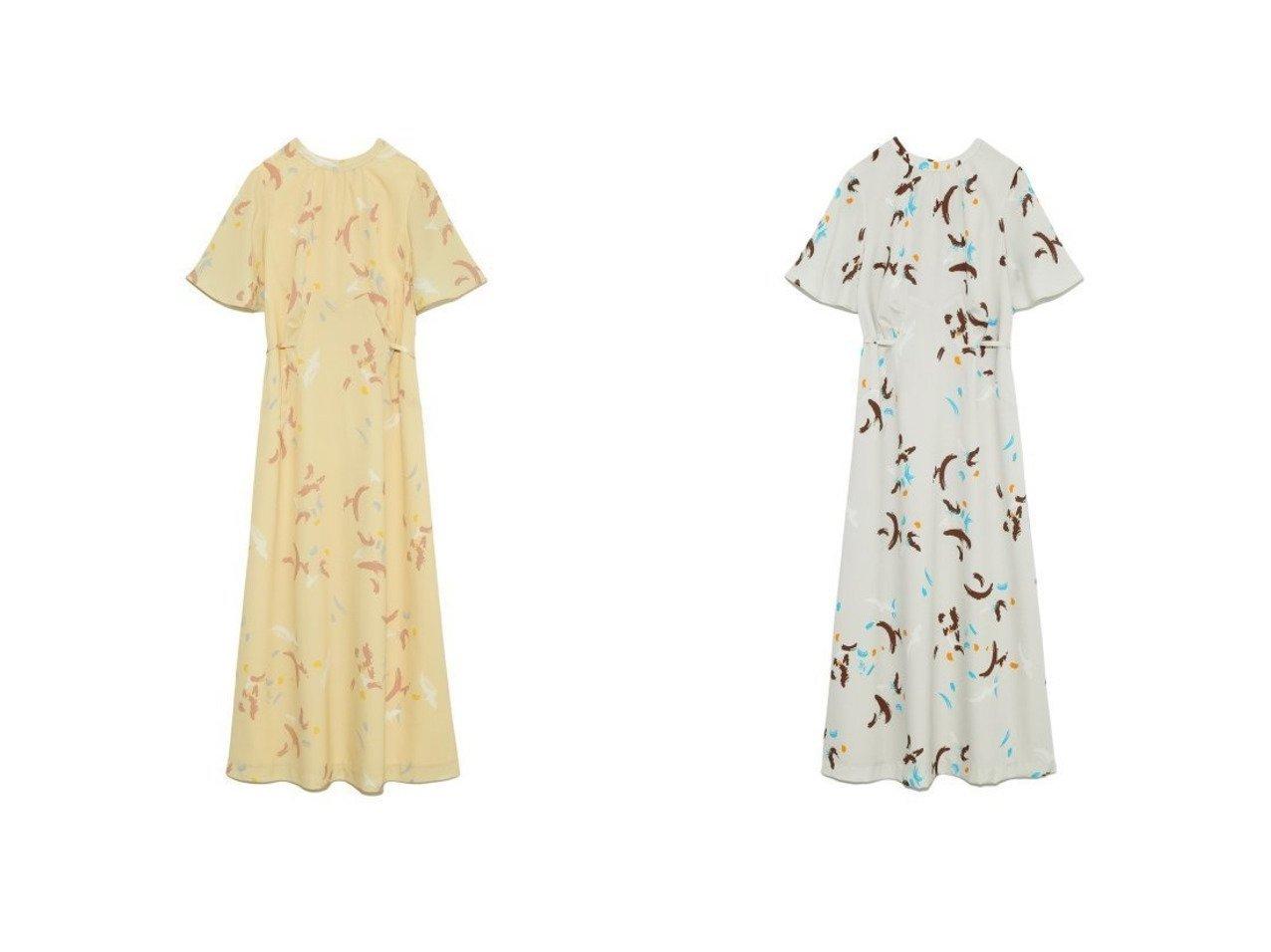 【Lily Brown/リリーブラウン】のペイント柄ロングワンピース 【ワンピース・ドレス】おすすめ!人気、トレンド・レディースファッションの通販 おすすめ人気トレンドファッション通販アイテム インテリア・キッズ・メンズ・レディースファッション・服の通販 founy(ファニー)  ファッション Fashion レディースファッション WOMEN ワンピース Dress イエロー スリーブ パターン フレア ロング 再入荷 Restock/Back in Stock/Re Arrival 春 Spring |ID:crp329100000037690