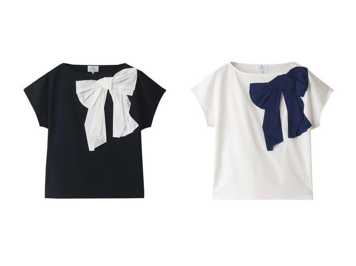 【LANVIN en Bleu/ランバン オン ブルー】のタフタリボンカットソー 【トップス・カットソー】おすすめ!人気、トレンド・レディースファッションの通販 おすすめファッション通販アイテム レディースファッション・服の通販 founy(ファニー)  ファッション Fashion レディースファッション WOMEN トップス・カットソー Tops/Tshirt シャツ/ブラウス Shirts/Blouses ロング / Tシャツ T-Shirts カットソー Cut and Sewn アシンメトリー ショート スリーブ タフタ リボン |ID:crp329100000037747
