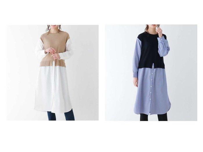 【SHOO LA RUE/シューラルー】のニット シャツフェイクレイヤードワンピ 【プチプライス】おすすめ!人気トレンド・ファッション通販 おすすめファッション通販アイテム レディースファッション・服の通販 founy(ファニー)  ファッション Fashion レディースファッション WOMEN ワンピース Dress おすすめ Recommend スリット ベスト |ID:crp329100000037866