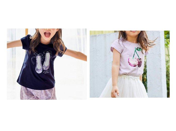 【anyFAM / KIDS/エニファム】のミラクルスパンコール 半袖Tシャツ&ミラクルスパンコール 半袖Tシャツ 【KIDS】子供服のおすすめ!人気トレンド・キッズファッションの通販 おすすめ人気トレンドファッション通販アイテム 人気、トレンドファッション・服の通販 founy(ファニー) ファッション Fashion キッズファッション KIDS トップス・カットソー Tops/Tees/Kids イエロー オレンジ カットソー シューズ シンプル スパンコール 人気 半袖 モチーフ ラベンダー リボン 送料無料 Free Shipping |ID:crp329100000037900