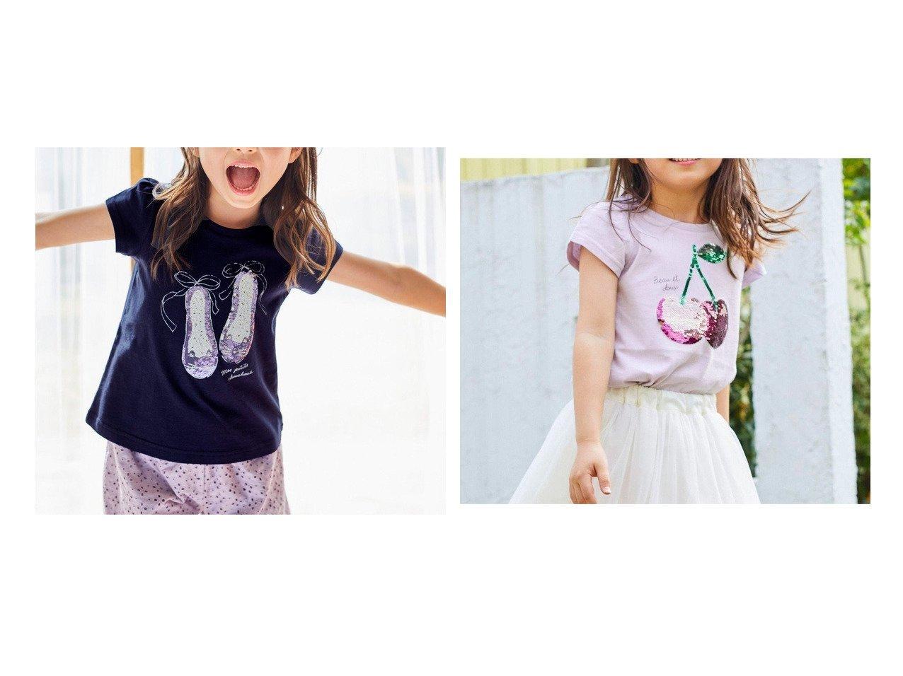 【anyFAM / KIDS/エニファム】のミラクルスパンコール 半袖Tシャツ&ミラクルスパンコール 半袖Tシャツ 【KIDS】子供服のおすすめ!人気トレンド・キッズファッションの通販 おすすめで人気の流行・トレンド、ファッションの通販商品 メンズファッション・キッズファッション・インテリア・家具・レディースファッション・服の通販 founy(ファニー) https://founy.com/ ファッション Fashion キッズファッション KIDS トップス・カットソー Tops/Tees/Kids イエロー オレンジ カットソー シューズ シンプル スパンコール 人気 半袖 モチーフ ラベンダー リボン 送料無料 Free Shipping |ID:crp329100000037900