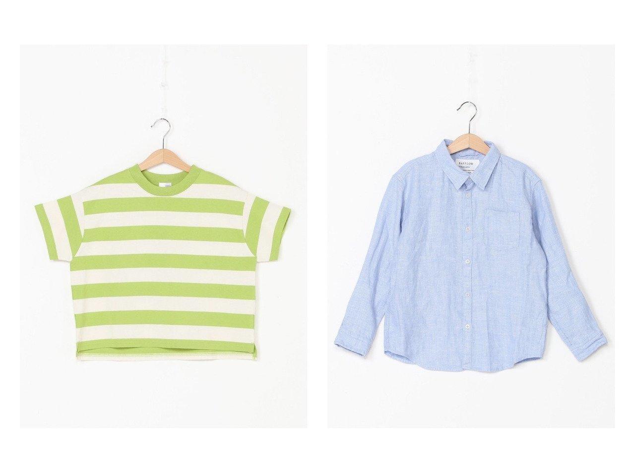 【BAYFLOW / KIDS/ベイフロー】のムジリネンシャツ/K&【LOWRYS FARM / KIDS/ローリーズファーム】のUSAフトボーダーSS 【KIDS】子供服のおすすめ!人気トレンド・キッズファッションの通販 おすすめで人気の流行・トレンド、ファッションの通販商品 メンズファッション・キッズファッション・インテリア・家具・レディースファッション・服の通販 founy(ファニー) https://founy.com/ ファッション Fashion キッズファッション KIDS トップス・カットソー Tops/Tees/Kids S/S・春夏 SS・Spring/Summer おすすめ Recommend カットソー シンプル ボーダー ストレッチ リネン 春 Spring  ID:crp329100000037914