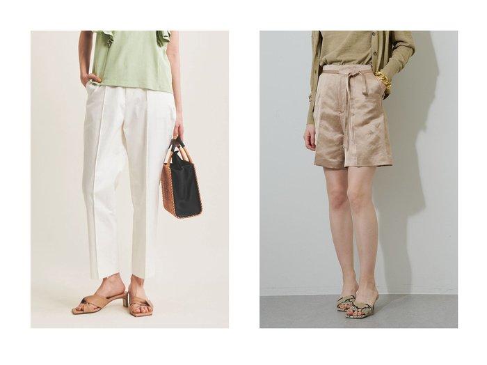 【The Virgnia/ザ ヴァージニア】のチノテーパードパンツ&【Whim Gazette/ウィムガゼット】のサテンショートパンツ 【パンツ】おすすめ!人気、トレンド・レディースファッションの通販  おすすめファッション通販アイテム レディースファッション・服の通販 founy(ファニー)  ファッション Fashion レディースファッション WOMEN パンツ Pants ハーフ / ショートパンツ Short Pants バランス サテン ショート リボン 台形 |ID:crp329100000038259