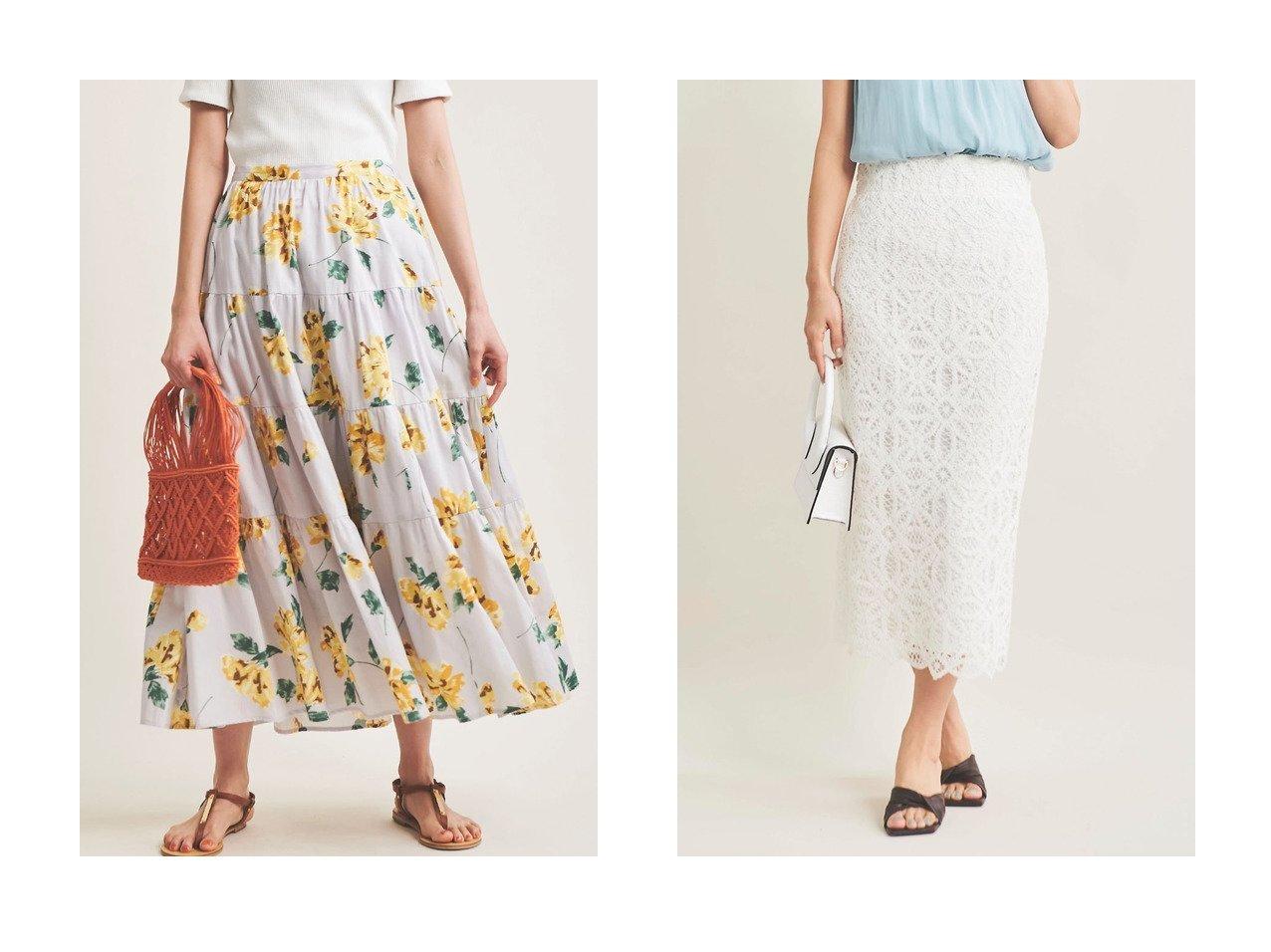 【The Virgnia/ザ ヴァージニア】のケミカルレースタイトスカート&コットンティアードフラワースカート 【スカート】おすすめ!人気、トレンド・レディースファッションの通販  おすすめで人気の流行・トレンド、ファッションの通販商品 メンズファッション・キッズファッション・インテリア・家具・レディースファッション・服の通販 founy(ファニー) https://founy.com/ ファッション Fashion レディースファッション WOMEN スカート Skirt ロングスカート Long Skirt イエロー ティアード ティアードスカート フラワー ラベンダー ロング |ID:crp329100000038315