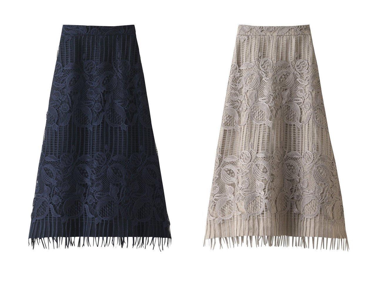 【ebure/エブール】のヘビーコードレース フリンジヘムロングスカート 【スカート】おすすめ!人気、トレンド・レディースファッションの通販  おすすめで人気の流行・トレンド、ファッションの通販商品 メンズファッション・キッズファッション・インテリア・家具・レディースファッション・服の通販 founy(ファニー) https://founy.com/ ファッション Fashion レディースファッション WOMEN スカート Skirt ロングスカート Long Skirt シンプル フリンジ リネン レース ロング 台形 |ID:crp329100000038316