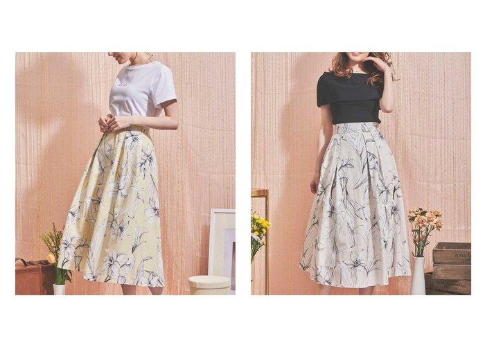 【Noela/ノエラ】のフラワープリントタフタスカート 【スカート】おすすめ!人気、トレンド・レディースファッションの通販  おすすめファッション通販アイテム レディースファッション・服の通販 founy(ファニー) ファッション Fashion レディースファッション WOMEN スカート Skirt Aライン/フレアスカート Flared A-Line Skirts コンパクト フレア ボタニカル |ID:crp329100000038329