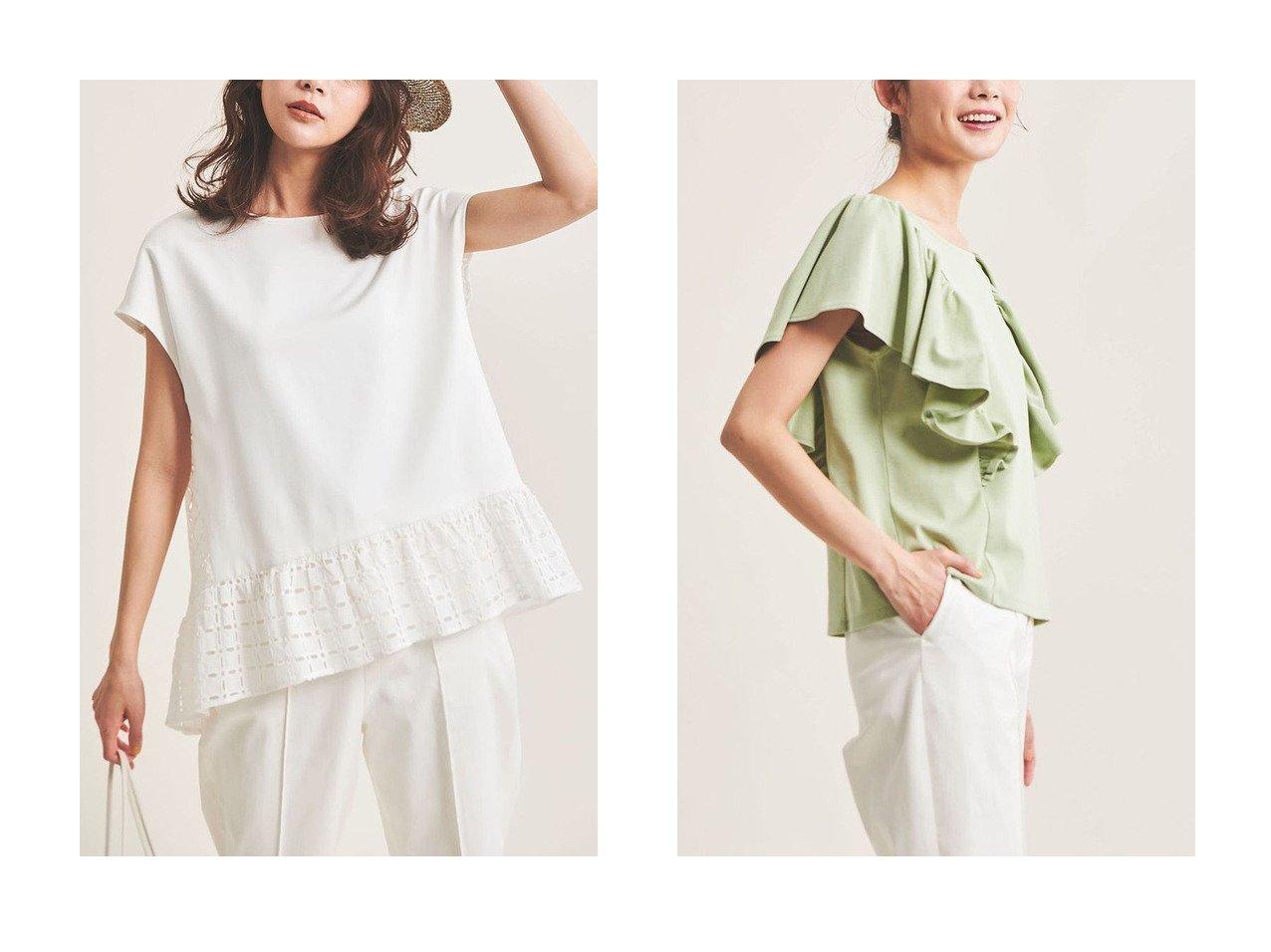 【The Virgnia/ザ ヴァージニア】のフレアスリーブカットソー&カットワーク幾何学刺しゅうトップス 【トップス・カットソー】おすすめ!人気、トレンド・レディースファッションの通販 おすすめで人気の流行・トレンド、ファッションの通販商品 メンズファッション・キッズファッション・インテリア・家具・レディースファッション・服の通販 founy(ファニー) https://founy.com/ ファッション Fashion レディースファッション WOMEN トップス・カットソー Tops/Tshirt シャツ/ブラウス Shirts/Blouses ロング / Tシャツ T-Shirts カットソー Cut and Sewn おすすめ Recommend カットソー ギャザー ショート スリーブ チュニック ドッキング レース ワーク ウォッシャブル ボトム  ID:crp329100000038728