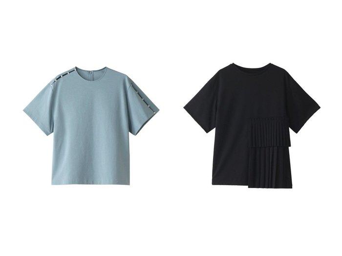 【LE CIEL BLEU/ルシェル ブルー】のパールディティールTシャツ&プリーツペーストTシャツ 【トップス・カットソー】おすすめ!人気、トレンド・レディースファッションの通販 おすすめファッション通販アイテム レディースファッション・服の通販 founy(ファニー) ファッション Fashion レディースファッション WOMEN トップス・カットソー Tops/Tshirt シャツ/ブラウス Shirts/Blouses ロング / Tシャツ T-Shirts カットソー Cut and Sewn ショート シンプル スリット スリーブ パール 半袖 |ID:crp329100000039593