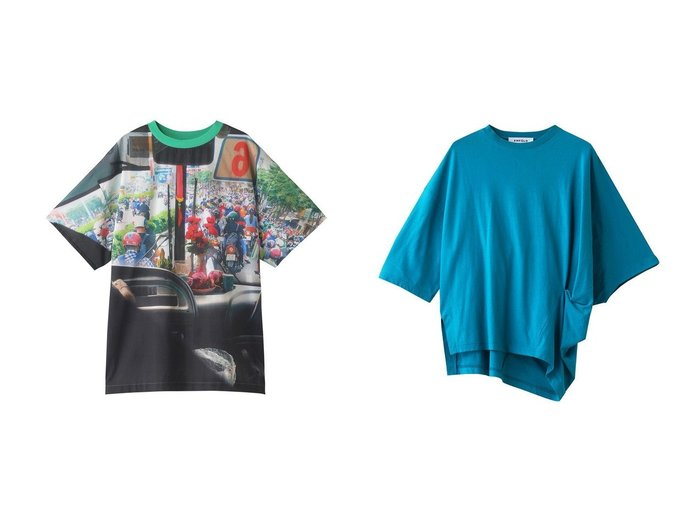 【nagonstans/ナゴンスタンス】のPHOTO Woven Tシャツ&【ENFOLD/エンフォルド】のハイツイスト天竺 Asymmetry Tシャツ 【トップス・カットソー】おすすめ!人気、トレンド・レディースファッションの通販 おすすめ人気トレンドファッション通販アイテム 人気、トレンドファッション・服の通販 founy(ファニー)  ファッション Fashion レディースファッション WOMEN トップス・カットソー Tops/Tshirt シャツ/ブラウス Shirts/Blouses ロング / Tシャツ T-Shirts カットソー Cut and Sewn ショート スリーブ プリント S/S・春夏 SS・Spring/Summer アシンメトリー ツイスト 春 Spring |ID:crp329100000039602