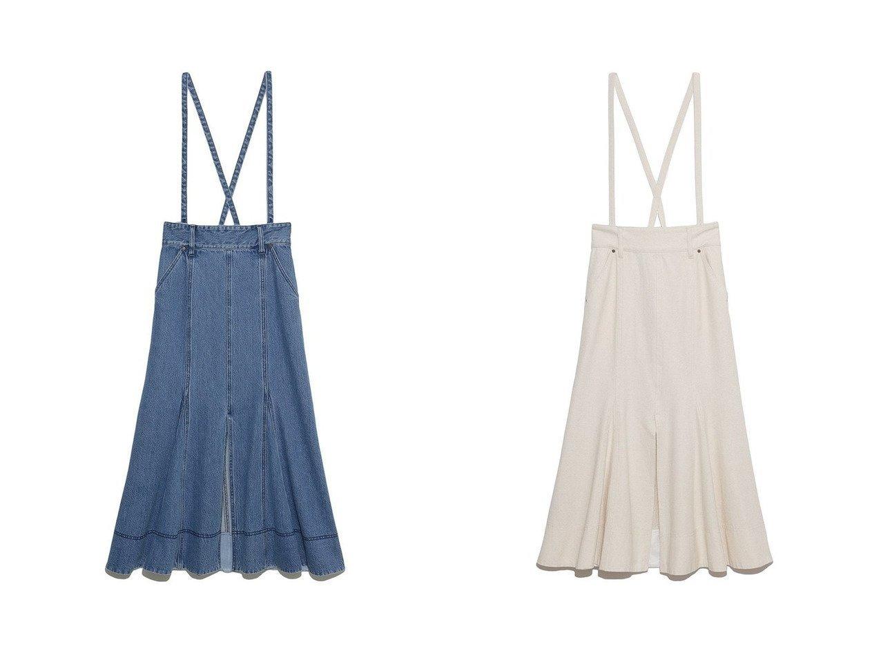 【Lily Brown/リリーブラウン】のサスペンダー付きデニムスカート 【スカート】おすすめ!人気、トレンド・レディースファッションの通販 おすすめ人気トレンドファッション通販アイテム インテリア・キッズ・メンズ・レディースファッション・服の通販 founy(ファニー)  ファッション Fashion レディースファッション WOMEN スカート Skirt デニムスカート Denim Skirts ロングスカート Long Skirt オックス サスペンダー サロペット スリット デニム フロント ベーシック ポケット マーメイド リボン ロング |ID:crp329100000039868