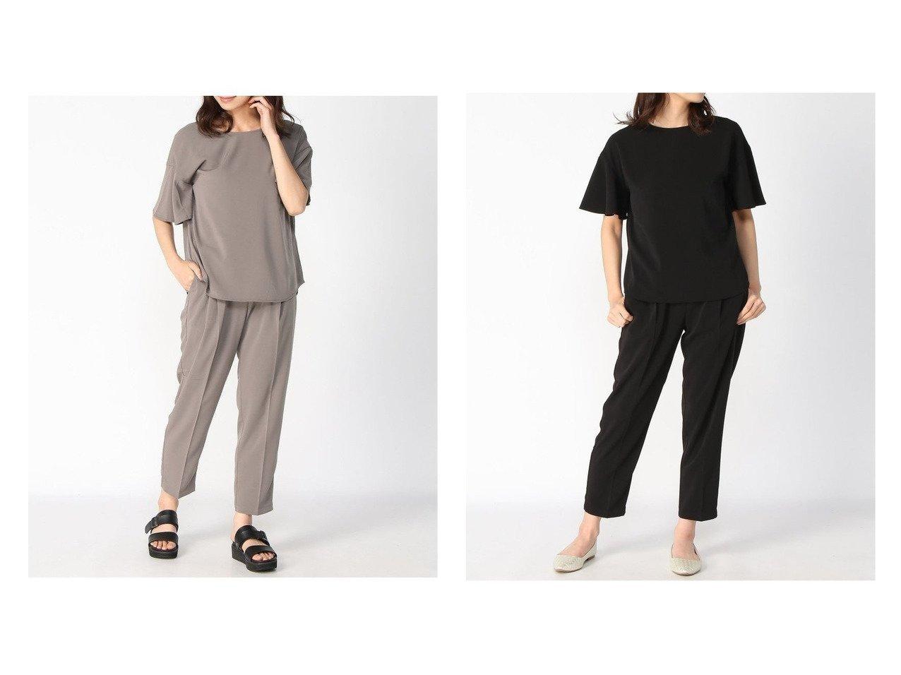 【GLOBAL WORK/グローバルワーク】のソデフリルBLPTセット+D 【トップス・カットソー】おすすめ!人気、トレンド・レディースファッションの通販 おすすめで人気の流行・トレンド、ファッションの通販商品 インテリア・家具・メンズファッション・キッズファッション・レディースファッション・服の通販 founy(ファニー) https://founy.com/ ファッション Fashion レディースファッション WOMEN トップス・カットソー Tops/Tshirt シャツ/ブラウス Shirts/Blouses NEW・新作・新着・新入荷 New Arrivals ストレッチ スリーブ セットアップ ツイル フレア メタル  ID:crp329100000041030