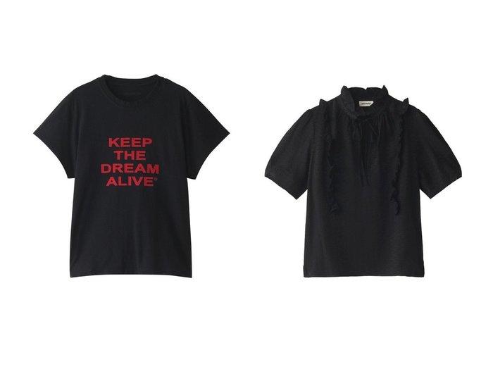 【ZADIG & VOLTAIRE/ザディグ エ ヴォルテール】のDONA KEEP THE DREAM T-SHIRT COTON FLOCK Tシャツ&TALINO JAC ZV 3D TOP COL MONTANT ブラウス 【トップス・カットソー】おすすめ!人気、トレンド・レディースファッションの通販 おすすめ人気トレンドファッション通販アイテム インテリア・キッズ・メンズ・レディースファッション・服の通販 founy(ファニー) https://founy.com/ ファッション Fashion レディースファッション WOMEN トップス・カットソー Tops/Tshirt シャツ/ブラウス Shirts/Blouses ロング / Tシャツ T-Shirts カットソー Cut and Sewn ショート シルク スリーブ フリル リボン クール デニム フロント  ID:crp329100000041361