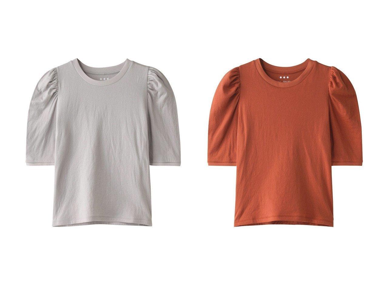 【three dots/スリー ドッツ】のSmile cotton power shoulder tee collaborated with Naoko Okusa 別注・限定・コラボなど、おすすめ!人気トレンド・レディースファッション通販 おすすめで人気の流行・トレンド、ファッションの通販商品 インテリア・家具・メンズファッション・キッズファッション・レディースファッション・服の通販 founy(ファニー) https://founy.com/ ファッション Fashion レディースファッション WOMEN トップス・カットソー Tops/Tshirt シャツ/ブラウス Shirts/Blouses ロング / Tシャツ T-Shirts カットソー Cut and Sewn ギャザー コラボ ショルダー ショート シンプル スリーブ |ID:crp329100000043063