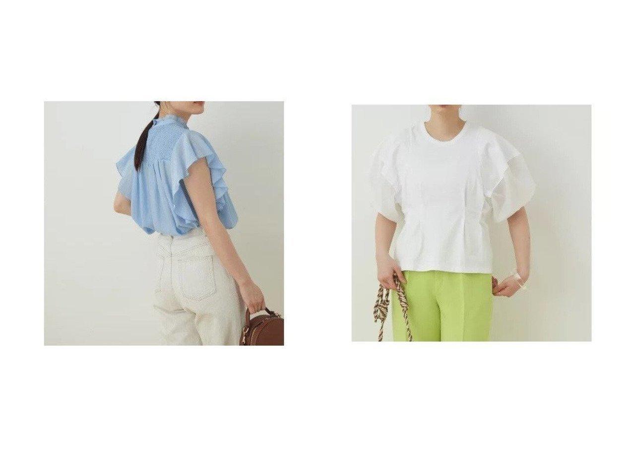 【ADAM ET ROPE'/アダム エ ロペ】の【WEB限定】シアーフリルスリーブシャーリングシャツ&【WEB限定】ファブリックコンビプルオーバー 別注・限定・コラボなど、おすすめ!人気トレンド・レディースファッション通販 おすすめで人気の流行・トレンド、ファッションの通販商品 インテリア・家具・メンズファッション・キッズファッション・レディースファッション・服の通販 founy(ファニー) https://founy.com/ ファッション Fashion レディースファッション WOMEN トップス・カットソー Tops/Tshirt シャツ/ブラウス Shirts/Blouses ロング / Tシャツ T-Shirts プルオーバー Pullover カットソー Cut and Sewn 春 Spring 今季 シアー シャーリング トレンド フリル ボトム ポケット 半袖 ヨーク 2021年 2021 S/S・春夏 SS・Spring/Summer 2021春夏・S/S SS/Spring/Summer/2021 おすすめ Recommend |ID:crp329100000043071