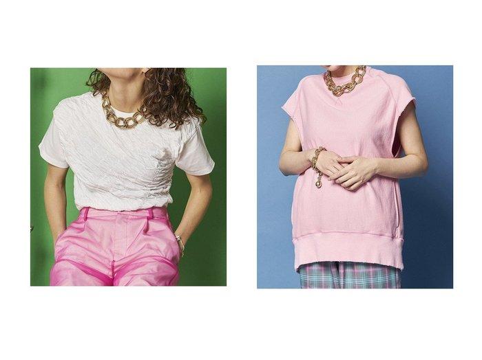 【MAISON SPECIAL/メゾンスペシャル】のノースリーブカットオフスウェット&バイアスシャーリングTシャツ 【トップス・カットソー】おすすめ!人気、トレンド・レディースファッションの通販 おすすめ人気トレンドファッション通販アイテム 人気、トレンドファッション・服の通販 founy(ファニー) ファッション Fashion レディースファッション WOMEN トップス・カットソー Tops/Tshirt シャツ/ブラウス Shirts/Blouses ロング / Tシャツ T-Shirts カットソー Cut and Sewn キャミソール / ノースリーブ No Sleeves パーカ Sweats スウェット Sweat コンパクト シャーリング ショート スリーブ バイアス フィット おすすめ Recommend カットソー ショーツ スウェット ポケット 半袖 |ID:crp329100000044196