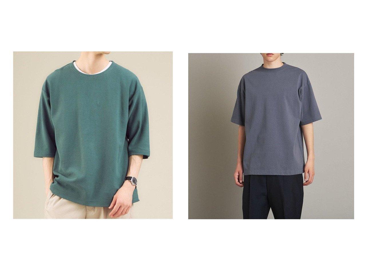 【steven alan / MEN/スティーブンアラン】のSteven Alan HI-DENS CREW NECK SHORT SLEEVE TEE-Tシャツ&【green label relaxing / UNITED ARROWS / MEN/グリーンレーベルリラクシング メン】のSC グリッティー ジャカード ノーカラー 5分袖 Tシャツ カットソー 【MEN】おすすめ!人気トレンド・男性、メンズファッションの通販  おすすめで人気の流行・トレンド、ファッションの通販商品 インテリア・家具・メンズファッション・キッズファッション・レディースファッション・服の通販 founy(ファニー) https://founy.com/ ファッション Fashion メンズファッション MEN トップス・カットソー Tops/Tshirt/Men シャツ Shirts 春 Spring 秋 Autumn/Fall カットソー キャップ シンプル ジャカード ネックレス フラット NEW・新作・新着・新入荷 New Arrivals おすすめ Recommend インナー フィット 半袖 |ID:crp329100000044513