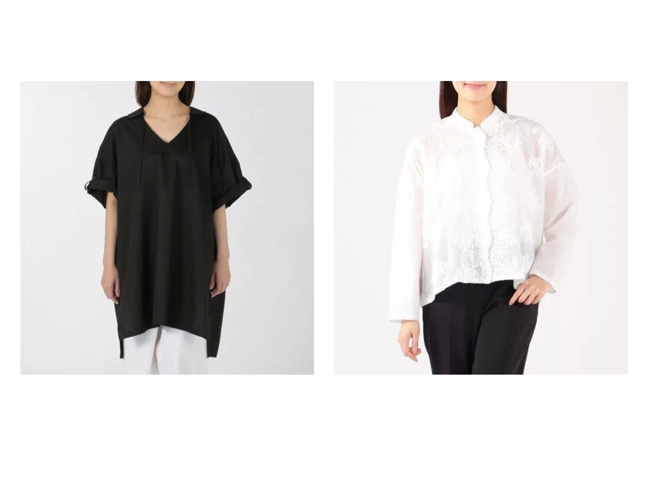 【mizuiro ind/ミズイロ インド】のV neck with collar tunic&front lace stand collar wide shirt 【トップス・カットソー】おすすめ!人気、トレンド・レディースファッションの通販 おすすめで人気の流行・トレンド、ファッションの通販商品 インテリア・家具・メンズファッション・キッズファッション・レディースファッション・服の通販 founy(ファニー) https://founy.com/ ファッション Fashion レディースファッション WOMEN トップス・カットソー Tops/Tshirt シャツ/ブラウス Shirts/Blouses シンプル スリット チュニック フロント ボトム ワイド 半袖 洗える ショート スタイリッシュ スタンド フェミニン レース 長袖  ID:crp329100000045331