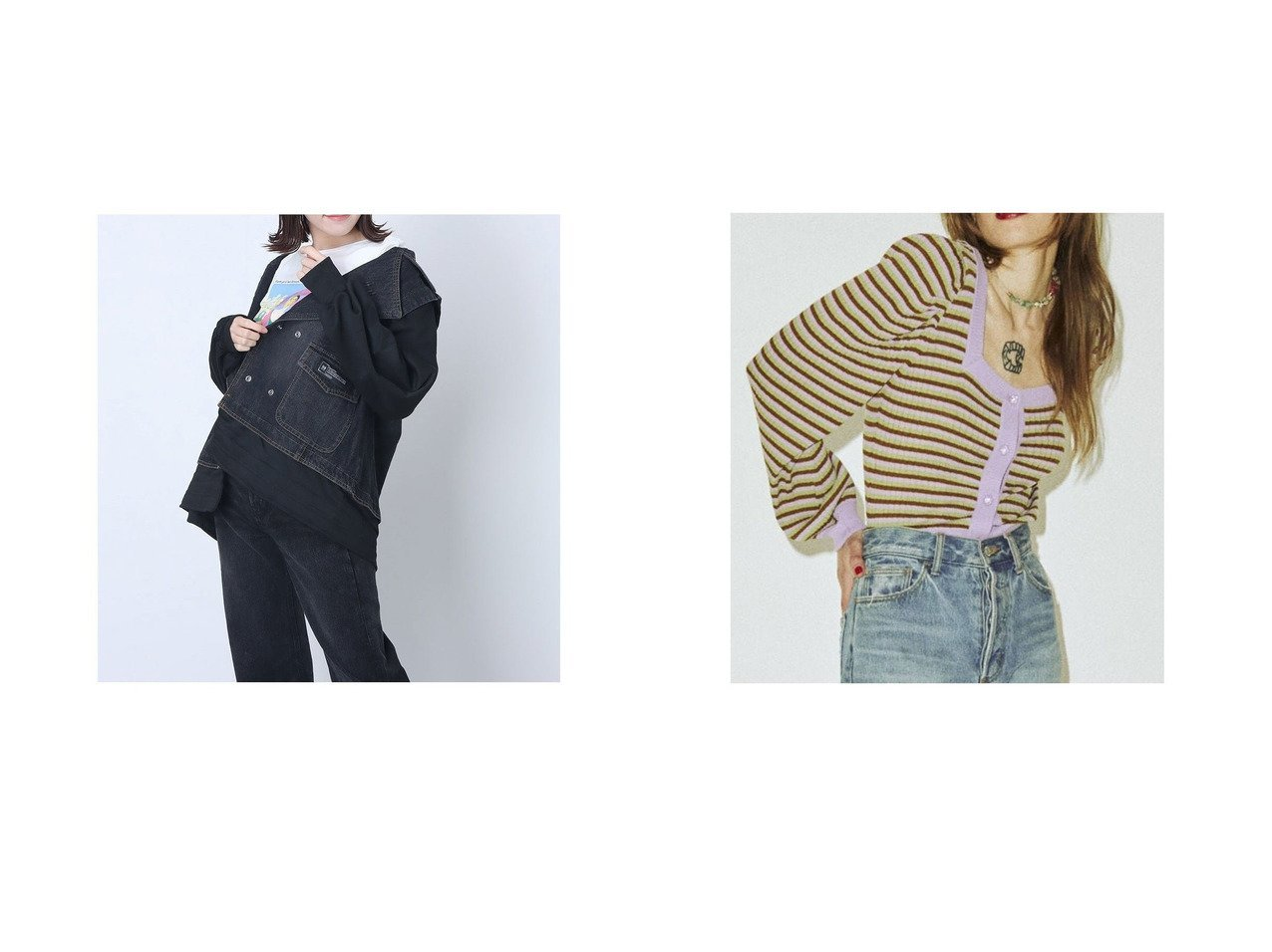【SVEC/シュベック】のデニムライダースジャケット&【jouetie/ジュエティ】のjouetie 【WEB限定】スクエア2WAYカーデ おすすめ!人気、トレンド・レディースファッションの通販 おすすめで人気の流行・トレンド、ファッションの通販商品 インテリア・家具・メンズファッション・キッズファッション・レディースファッション・服の通販 founy(ファニー) https://founy.com/ ファッション Fashion レディースファッション WOMEN アウター Coat Outerwear ジャケット Jackets ライダース Riders Jacket 2021年 2021 2021春夏・S/S SS/Spring/Summer/2021 S/S・春夏 SS・Spring/Summer おすすめ Recommend カーディガン スクエア デニム パターン ボトム 春 Spring 羽織 インナー スウェット ドッキング ライダースジャケット  ID:crp329100000045346