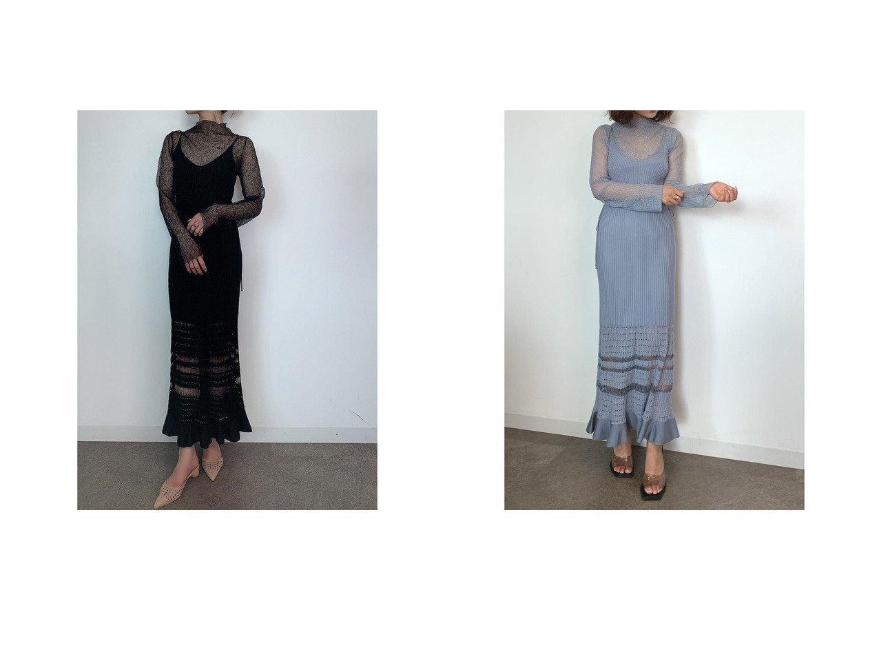 【eimy istoire/エイミーイストワール】のshine openwork ニットキャミワンピースセット 【ワンピース・ドレス】おすすめ!人気、トレンド・レディースファッションの通販 おすすめで人気の流行・トレンド、ファッションの通販商品 インテリア・家具・メンズファッション・キッズファッション・レディースファッション・服の通販 founy(ファニー) https://founy.com/ ファッション Fashion レディースファッション WOMEN ワンピース Dress キャミワンピース No Sleeve Dresses チュール モチーフ 切替 透かし  ID:crp329100000045353