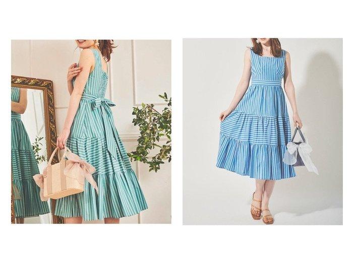 【31 Sons de mode/トランテアン ソン ドゥ モード】のバックリボン切替ワンピース 【ワンピース・ドレス】おすすめ!人気、トレンド・レディースファッションの通販 おすすめ人気トレンドファッション通販アイテム 人気、トレンドファッション・服の通販 founy(ファニー) ファッション Fashion レディースファッション WOMEN ワンピース Dress 2021年 2021 2021春夏・S/S SS/Spring/Summer/2021 S/S・春夏 SS・Spring/Summer カーディガン シャーリング ショート スクエア ストライプ ノースリーブ フィット プリント リボン 切替 |ID:crp329100000045947