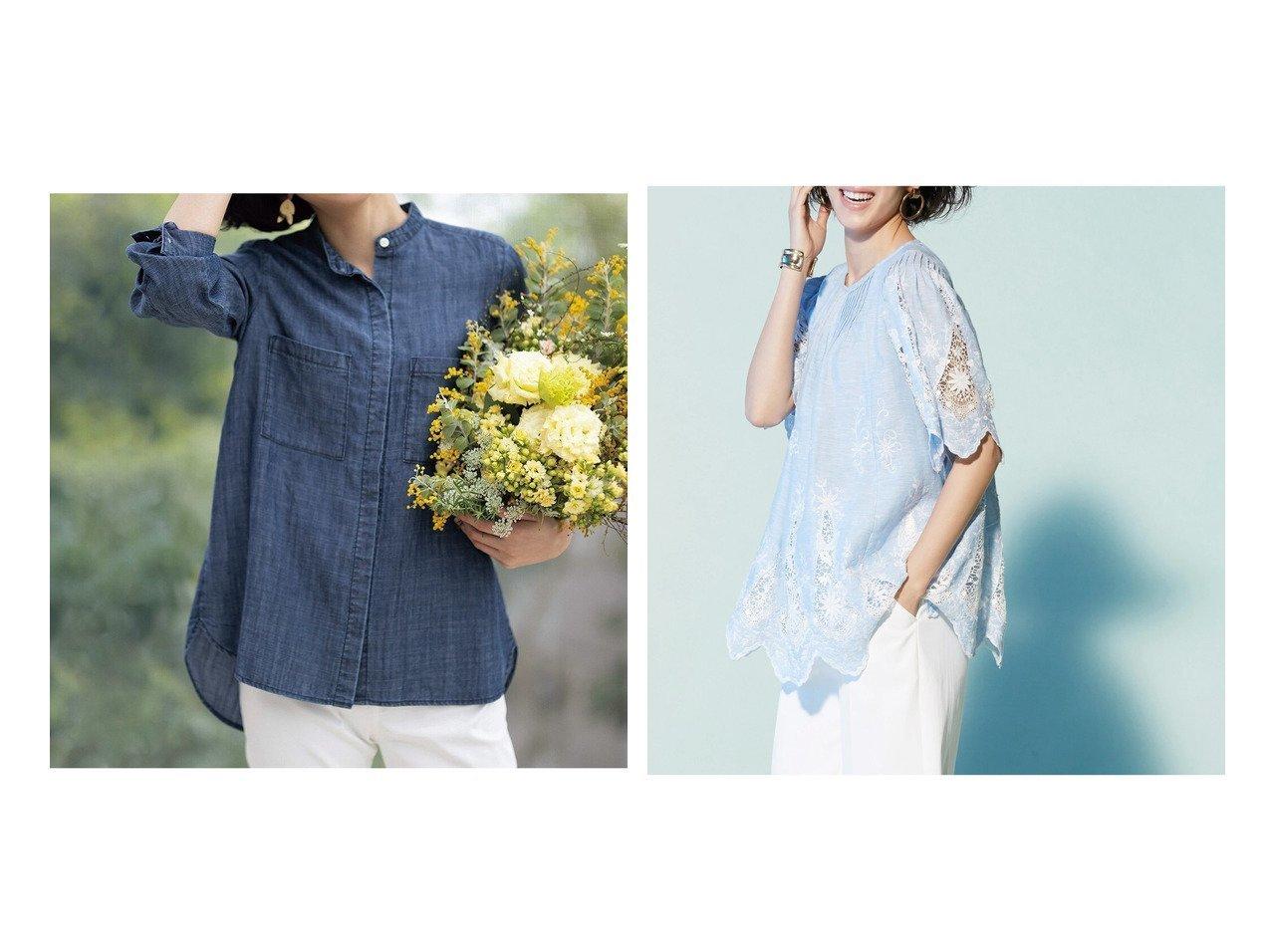 【DoCLASSE/ドゥクラッセ】のリネン混ソフトデニム・ノーカラーシャツ&21番リネン・シアーレースブラウス 40代、50代の女性におすすめ!人気トレンド・ファッションの通販 おすすめで人気の流行・トレンド、ファッションの通販商品 インテリア・家具・メンズファッション・キッズファッション・レディースファッション・服の通販 founy(ファニー) https://founy.com/ ファッション Fashion レディースファッション WOMEN トップス・カットソー Tops/Tshirt シャツ/ブラウス Shirts/Blouses とろみ デニム リネン スカラップ レース 夏 Summer |ID:crp329100000046731