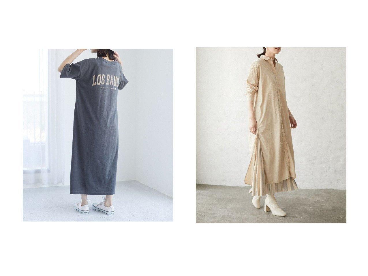 【Green Parks/グリーンパークス】のレギュラーカラーシャツワンピース&バックプリントTシャツワンピース 【プチプライス・低価格】おすすめ!人気トレンド・レディースファッション通販  おすすめで人気の流行・トレンド、ファッションの通販商品 インテリア・家具・メンズファッション・キッズファッション・レディースファッション・服の通販 founy(ファニー) https://founy.com/ ファッション Fashion レディースファッション WOMEN ワンピース Dress シャツワンピース Shirt Dresses 送料無料 Free Shipping シューズ シンプル プリント ヴィンテージ スリット ボトム レギュラー |ID:crp329100000047375