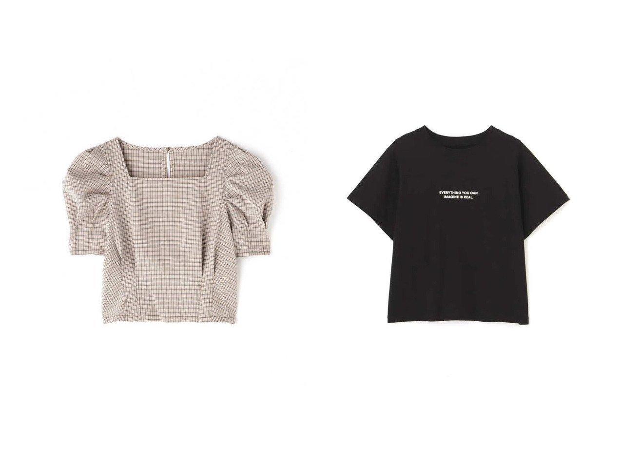 【FREE'S MART/フリーズマート】のスクエアネック短丈半袖ボリュームスリーブブラウス&アウトロックロゴプリントTシャツ 【プチプライス・低価格】おすすめ!人気トレンド・レディースファッション通販  おすすめで人気の流行・トレンド、ファッションの通販商品 インテリア・家具・メンズファッション・キッズファッション・レディースファッション・服の通販 founy(ファニー) https://founy.com/ ファッション Fashion レディースファッション WOMEN トップス・カットソー Tops/Tshirt シャツ/ブラウス Shirts/Blouses ボリュームスリーブ / フリル袖 Volume Sleeve ロング / Tシャツ T-Shirts コンパクト スクエア スリーブ チェック デコルテ デニム トレンド 半袖 インナー シンプル ジャケット フロント プリント ボトム  ID:crp329100000047398