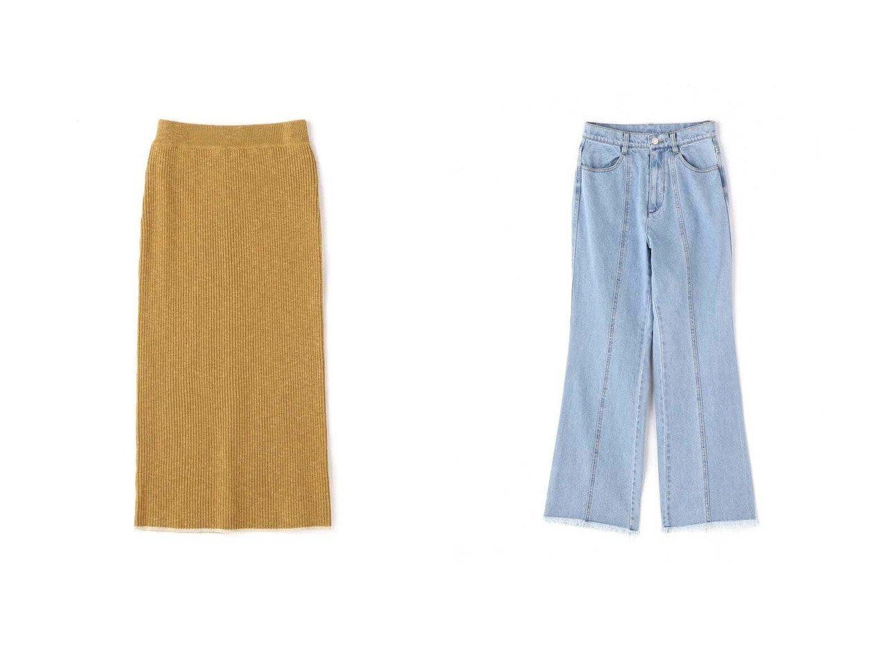 【FREE'S MART/フリーズマート】の《Sシリーズ対応商品》カラーフレアデニム&配色バインダーリブニットスカート 【プチプライス・低価格】おすすめ!人気トレンド・レディースファッション通販  おすすめで人気の流行・トレンド、ファッションの通販商品 インテリア・家具・メンズファッション・キッズファッション・レディースファッション・服の通販 founy(ファニー) https://founy.com/ ファッション Fashion レディースファッション WOMEN スカート Skirt スリット センター おすすめ Recommend クロップド デニム フェミニン フリンジ フレア ブリーチ |ID:crp329100000047421