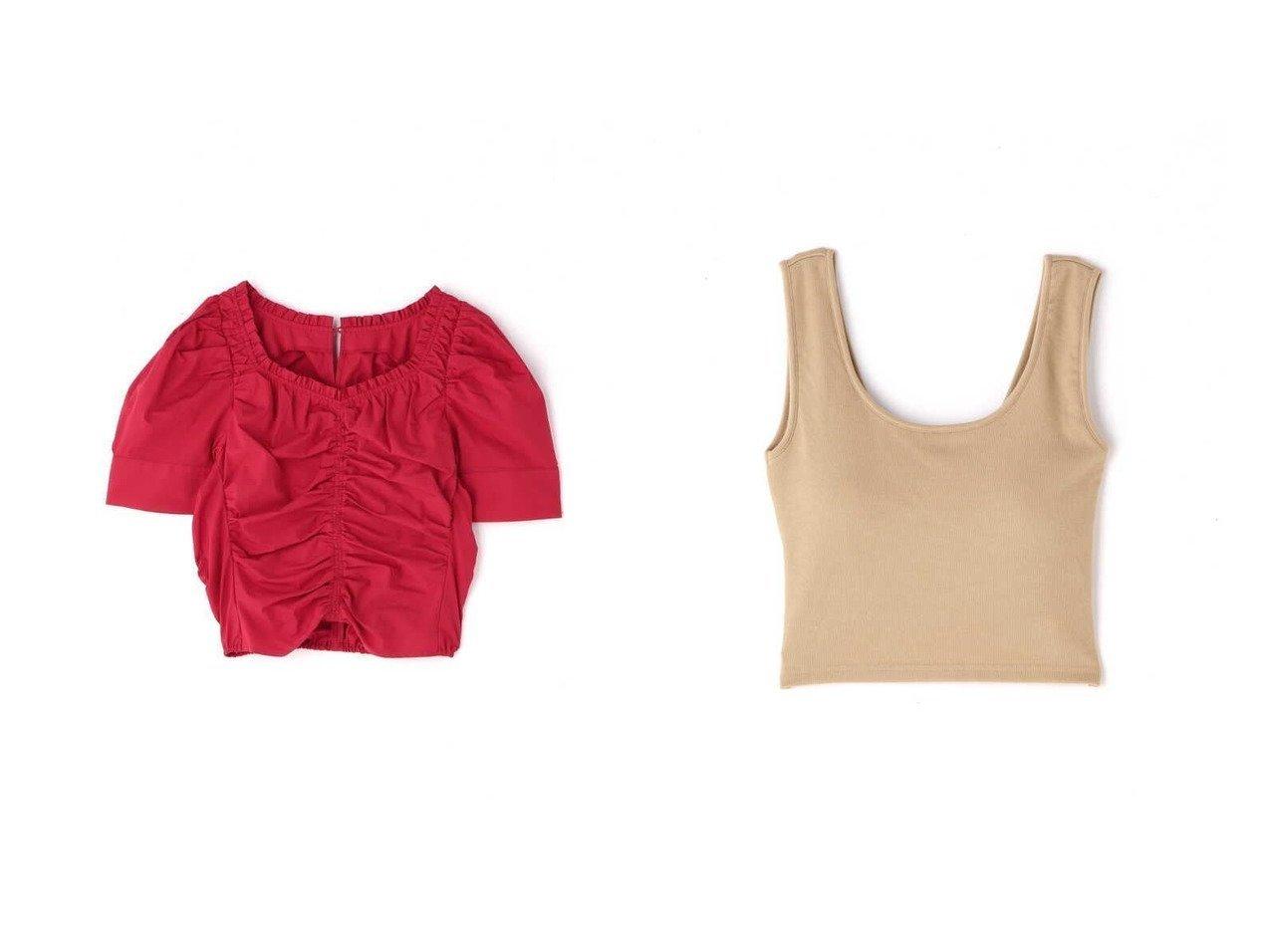 【FREE'S MART/フリーズマート】のフロントシャーリングパワショルブラウス&カップ付きバッククロスタンク 【プチプライス・低価格】おすすめ!人気トレンド・レディースファッション通販  おすすめで人気の流行・トレンド、ファッションの通販商品 インテリア・家具・メンズファッション・キッズファッション・レディースファッション・服の通販 founy(ファニー) https://founy.com/ ファッション Fashion レディースファッション WOMEN トップス・カットソー Tops/Tshirt シャツ/ブラウス Shirts/Blouses バッグ Bag シャーリング ショルダー スリーブ フロント ボトム インナー クロップド ニットソー フィット |ID:crp329100000047423