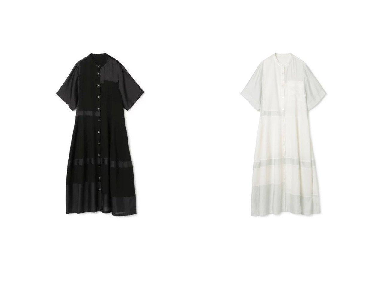 【LE CIEL BLEU/ルシェル ブルー】のContrastingFabricDress 【ワンピース・ドレス】おすすめ!人気、トレンド・レディースファッションの通販 おすすめで人気の流行・トレンド、ファッションの通販商品 インテリア・家具・メンズファッション・キッズファッション・レディースファッション・服の通販 founy(ファニー) https://founy.com/ ファッション Fashion レディースファッション WOMEN ワンピース Dress ドレス Party Dresses シャツワンピース Shirt Dresses シアー ドレス ブロッキング モノトーン 半袖 洗える |ID:crp329100000047632