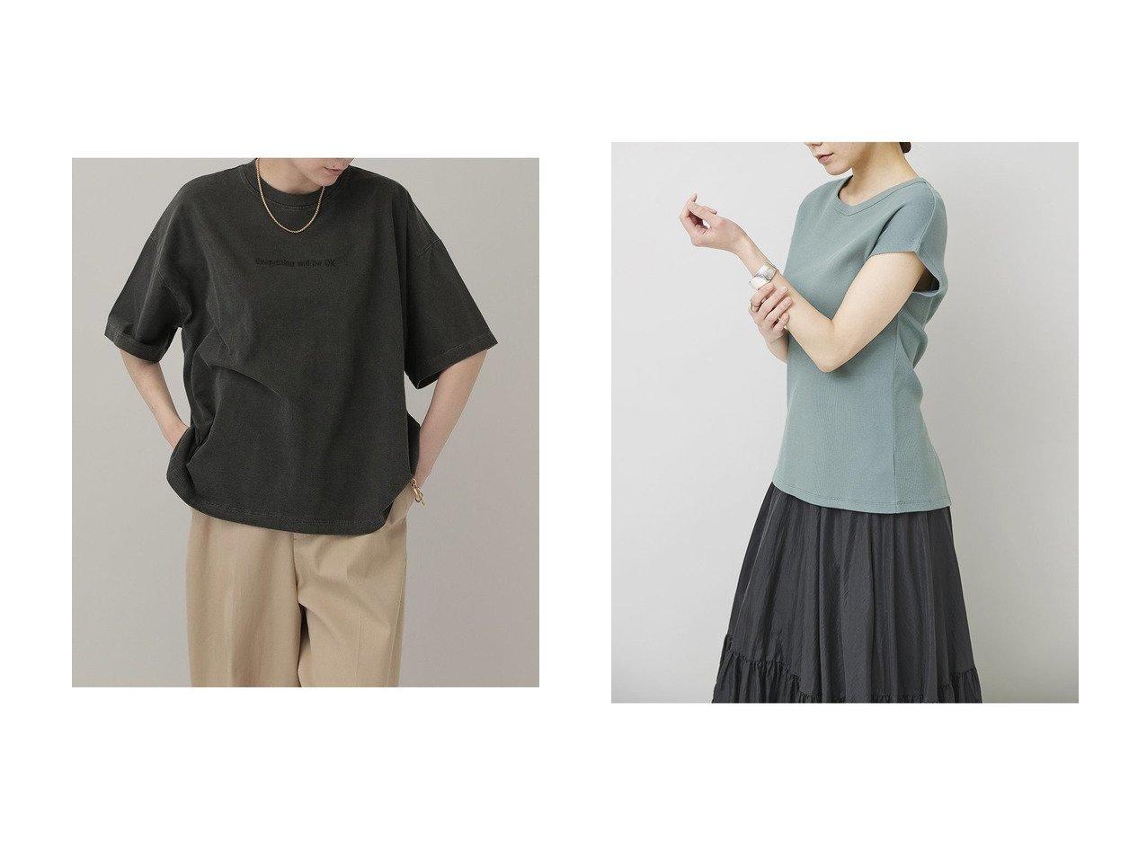 【Curensology/カレンソロジー】のwill be OK Tシャツ&バックスリットTシャツ 【トップス・カットソー】おすすめ!人気、トレンド・レディースファッションの通販  おすすめで人気の流行・トレンド、ファッションの通販商品 インテリア・家具・メンズファッション・キッズファッション・レディースファッション・服の通販 founy(ファニー) https://founy.com/ ファッション Fashion レディースファッション WOMEN トップス・カットソー Tops/Tshirt シャツ/ブラウス Shirts/Blouses ロング / Tシャツ T-Shirts カットソー Cut and Sewn インナー カットソー ショート シンプル スリット スリーブ バランス ヴィンテージ 夏 Summer ボックス  ID:crp329100000049295