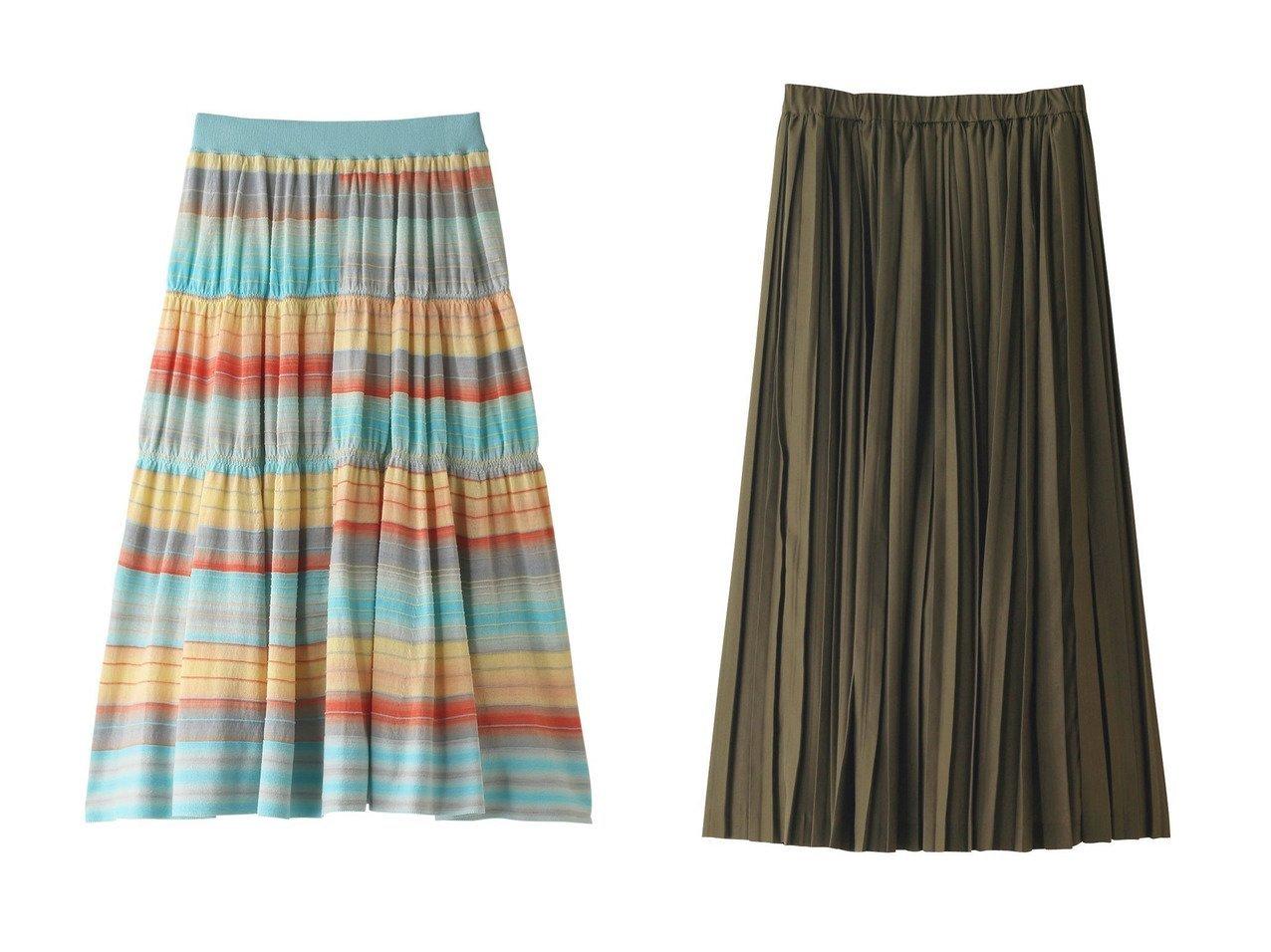 【ANAYI/アナイ】のグラデーションボーダーティアードニットスカート&【mizuiro ind/ミズイロ インド】のダブルプリーツロングスカート 【スカート】おすすめ!人気、トレンド・レディースファッションの通販 おすすめで人気の流行・トレンド、ファッションの通販商品 インテリア・家具・メンズファッション・キッズファッション・レディースファッション・服の通販 founy(ファニー) https://founy.com/ ファッション Fashion レディースファッション WOMEN スカート Skirt ロングスカート Long Skirt シンプル プリーツ ロング S/S・春夏 SS・Spring/Summer おすすめ Recommend グラデーション セットアップ ボーダー 夏 Summer 春 Spring |ID:crp329100000049390