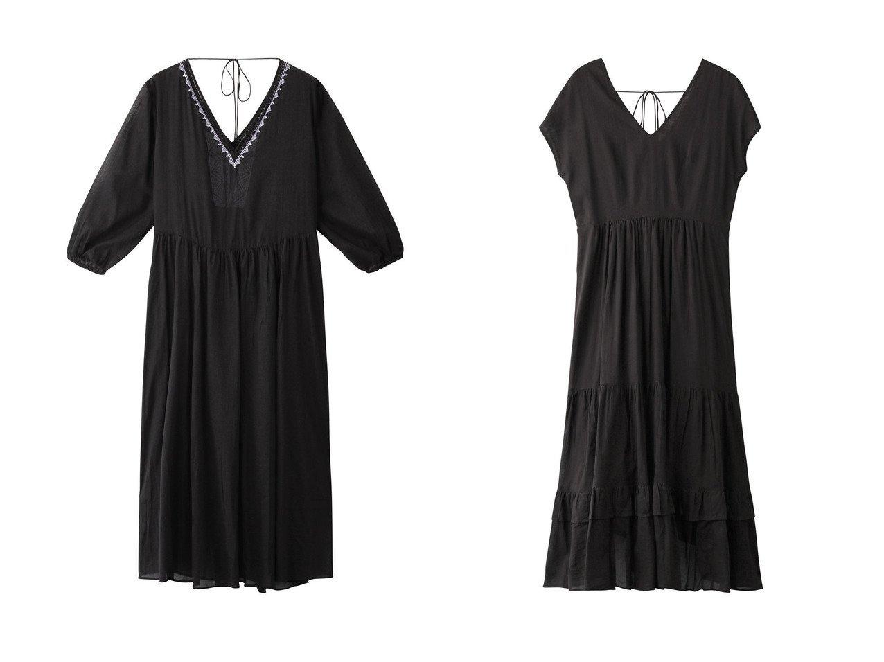 【NE QUITTEZ PAS/ヌキテパ】のボイルエンブロイダリーVネックドレス&コットンボイルバックリボンドレス 【ワンピース・ドレス】おすすめ!人気、トレンド・レディースファッションの通販 おすすめで人気の流行・トレンド、ファッションの通販商品 インテリア・家具・メンズファッション・キッズファッション・レディースファッション・服の通販 founy(ファニー) https://founy.com/ ファッション Fashion レディースファッション WOMEN ワンピース Dress ドレス Party Dresses エンブロイダリー ドレス フェミニン リゾート ロング ティアード フリル リボン 今季  ID:crp329100000049455