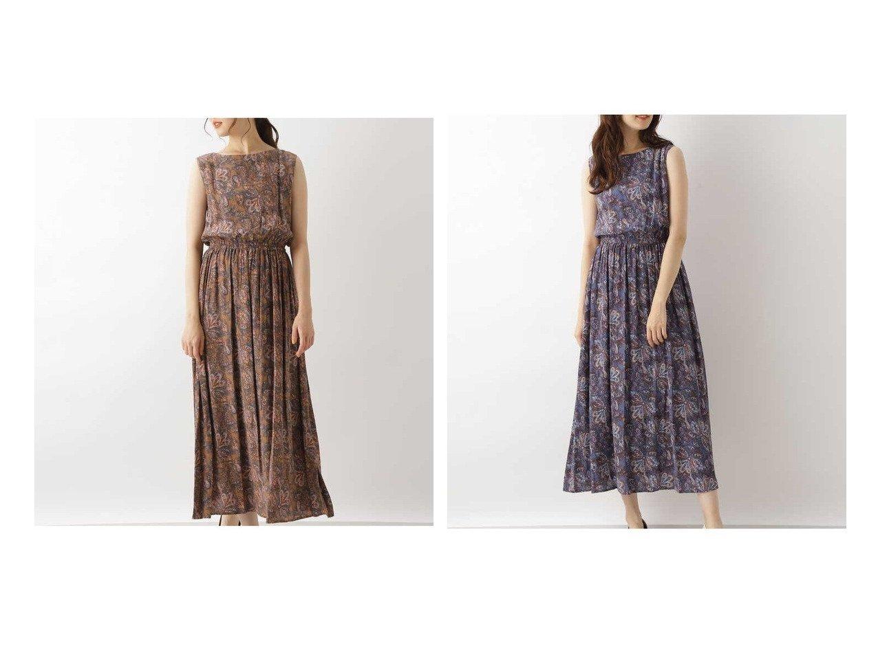 【NATURAL BEAUTY BASIC/ナチュラル ビューティー ベーシック】のペイズリープリントノースリワンピース 【ワンピース・ドレス】おすすめ!人気、トレンド・レディースファッションの通販 おすすめで人気の流行・トレンド、ファッションの通販商品 インテリア・家具・メンズファッション・キッズファッション・レディースファッション・服の通販 founy(ファニー) https://founy.com/ ファッション Fashion レディースファッション WOMEN ワンピース Dress ギャザー ノースリーブ フレア プリント ペイズリー リゾート リラックス  ID:crp329100000049479