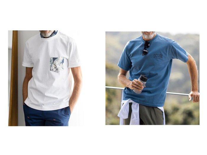 【DoCLASSE / MEN/ドゥクラッセ】のハワイ柄ポケットT&反応顔料染プリントクルーT 40代、50代の男性におすすめ!人気トレンド・メンズファッションの通販 おすすめ人気トレンドファッション通販アイテム インテリア・キッズ・メンズ・レディースファッション・服の通販 founy(ファニー) https://founy.com/ ファッション Fashion メンズファッション MEN プリント ヴィンテージ アロハ ベーシック ポケット  ID:crp329100000049666