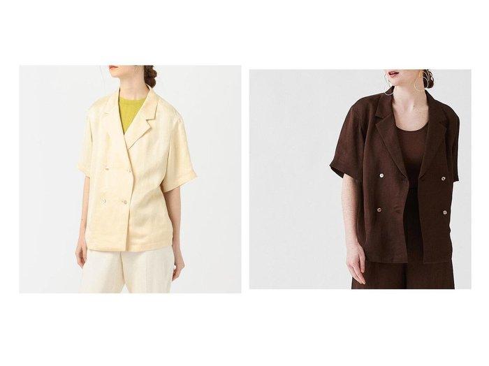 【TOMORROWLAND BALLSEY/トゥモローランド ボールジー】のドビーサテン シャツジャケット 【アウター】おすすめ!人気、トレンド・レディースファッションの通販 おすすめ人気トレンドファッション通販アイテム 人気、トレンドファッション・服の通販 founy(ファニー)  ファッション Fashion レディースファッション WOMEN アウター Coat Outerwear ジャケット Jackets 2021年 2021 2021春夏・S/S SS/Spring/Summer/2021 S/S・春夏 SS・Spring/Summer ジャケット スリーブ ダブル ハーフ バランス フロント マニッシュ リネン 今季 |ID:crp329100000050327