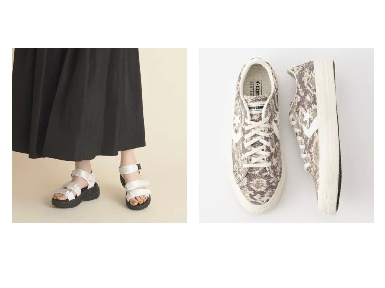 【Odette e Odile/オデット エ オディール】の【WEB限定】O 3ベルトバックル サンダル60●&【NOLLEY'S/ノーリーズ】の【 コンバース】 【WEB限定】プロライドSK SNK OX 【シューズ・靴】おすすめ!人気、トレンド・レディースファッションの通販   おすすめで人気の流行・トレンド、ファッションの通販商品 インテリア・家具・メンズファッション・キッズファッション・レディースファッション・服の通販 founy(ファニー) https://founy.com/ ファッション Fashion レディースファッション WOMEN バッグ Bag ベルト Belts キャンバス クール シューズ スタンダード スニーカー 定番 Standard パイソン モノトーン サンダル スポーツ  ID:crp329100000052232