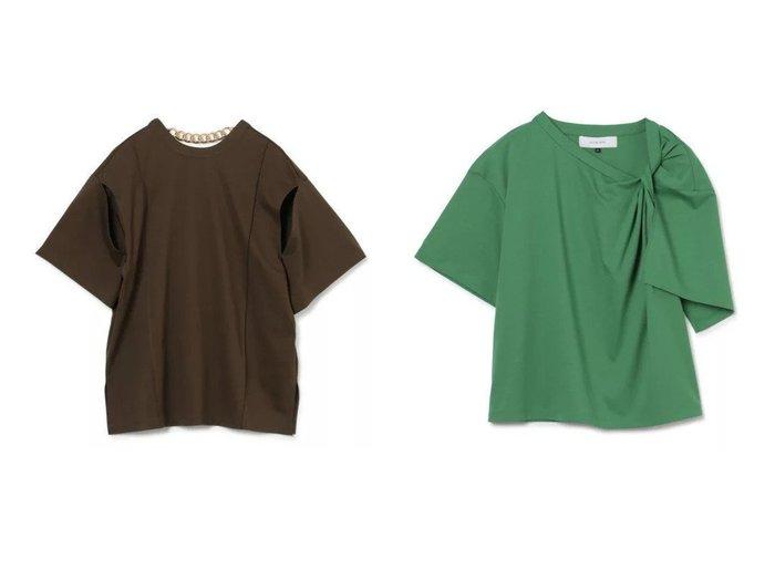 【LE CIEL BLEU/ルシェル ブルー】のScoopNeckTee&TwistShoulderTee 【トップス・カットソー】おすすめ!人気、トレンド・レディースファッションの通販   おすすめ人気トレンドファッション通販アイテム 人気、トレンドファッション・服の通販 founy(ファニー) ファッション Fashion レディースファッション WOMEN トップス・カットソー Tops/Tshirt シャツ/ブラウス Shirts/Blouses ロング / Tシャツ T-Shirts カットソー Cut and Sewn アシンメトリー エレガント カットソー ツイスト 半袖 洗える |ID:crp329100000052324