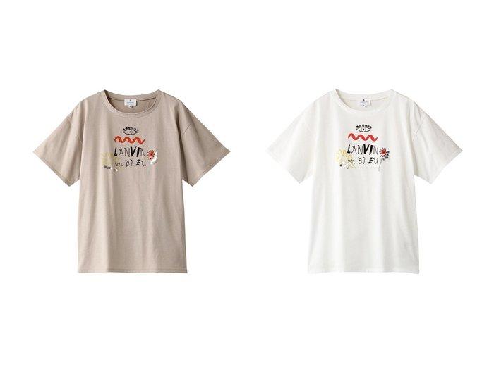 【LANVIN en Bleu/ランバン オン ブルー】のBOTANICAL&EYE PRINT TEE 【トップス・カットソー】おすすめ!人気トレンド・レディースファッション通販 おすすめ人気トレンドファッション通販アイテム インテリア・キッズ・メンズ・レディースファッション・服の通販 founy(ファニー) https://founy.com/ ファッション Fashion レディースファッション WOMEN トップス・カットソー Tops/Tshirt シャツ/ブラウス Shirts/Blouses ロング / Tシャツ T-Shirts カットソー Cut and Sewn 2021年 2021 2021-2022秋冬・A/W AW・Autumn/Winter・FW・Fall-Winter・2021-2022 A/W・秋冬 AW・Autumn/Winter・FW・Fall-Winter ショート スパンコール スリーブ プリント 半袖 |ID:crp329100000052971